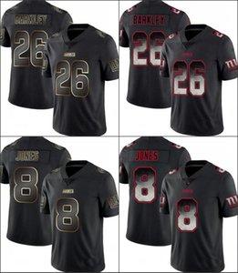 New YorkDevlerErkekler Limited 8. Daniel Jones 26 Saquon Barkley Duman Moda Kadınlar Gençlik Siyah Altın Jersey