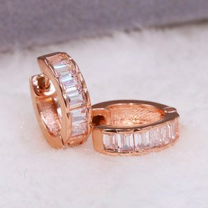 Little Hoop Earrings For Women Modern Classic Delicate Square Cubic Zirconia Rose Gold Color Party Gift Fashion Jewelry KBE241