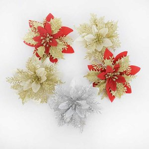 3Pcs Artificial Christmas Glitter Fake Flower Gold Silver Red Poinsettia Xmas Tree Decor Ornaments New Year Gift Navidad