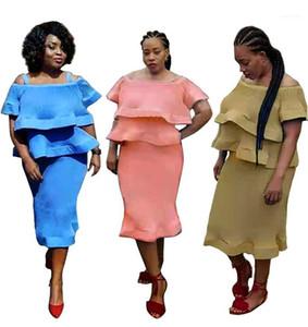 Striped Ruffle Femmes Designer Robes Femmes Vêtements femmes sexy Robes Casual Mode Slash Neck lambrissé Drapée