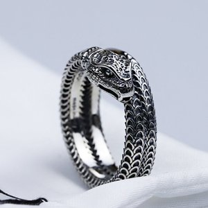 High Quality Manufacturers Assertive Gujia Double Gbllnd Classic Snake Vintage Sterling Silver Closed Thai Silver Carved 925 Mens Ring