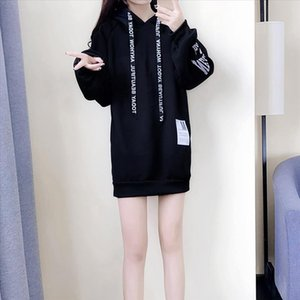 Spring Hot Sale Fashion Womens Casual Style Hooded Hoodie Long Sleeve Sweatshirt Dress Casual Loose Tunic Dress Tops 2020 New D