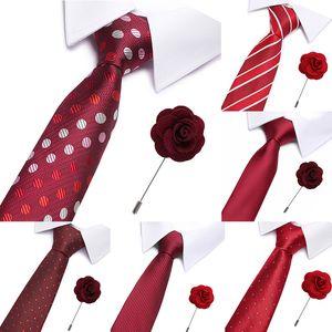 Wedding Plaid Neck Ties for Men Casual Suits Tie Gravatas Red Lattice Stripe Neckties Business 7.5 cm Width Formal Men Ties