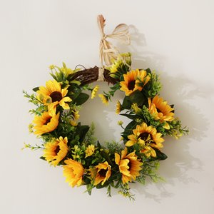 Christmas Artificial Rattan Silk Sunflower Wreath Home Front Door Decoration