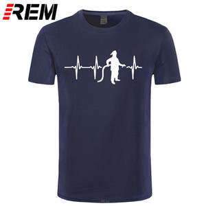 Firefighter Heartbeat Line Print T-Shirts Men Casual Short Sleeve Cotton T Shirt Funny Fireman's Birthday Gift Tees