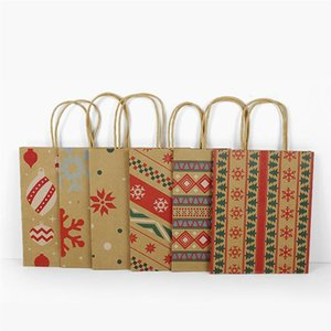 24pcs Kraft Paper Bags with Handle Party Gift Bag Christmas Favor Present Bag Wrapping Bags For Gift Christmas (Random Style)