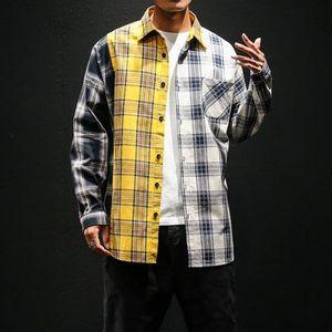 Colorblock Plaid Vintage Camisetas masculinas Moda manga comprida Patchwork Tartan camisa dos homens de Hip Hop Roupa Urban M-XXXL
