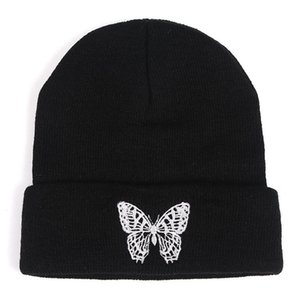 Butterfly Embroidery Knitted Hat For Women 2020 Autumn Winter Casual Warm Woolen Hat Hip Hop Wool Beanie Simple Warm