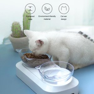 Pet Feeding Bowl 15º Tilted Design for Neck Protection Single or Double Bowls for Cats and Small Dogs Pet Slow Feeder Bowl