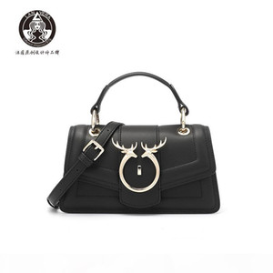 Fashion Women Handbag Designer Ladies Shoulder Bag Youth Flap Sweet Wind Genuine Leather Black Crossbody Bag 1090
