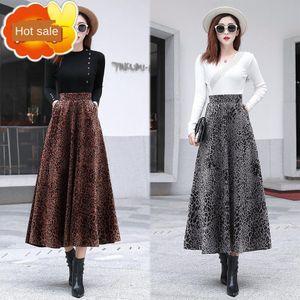 HDmK8 iZoGA 2019 A and winter golden print thickened long skirt mid-length high waist lin velvet large swing long skirt large size autumn- le