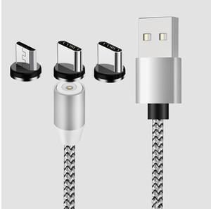 NOVA 3 em 1 carregador cabo Magnetic Linha 2A Nylon carregamento rápido Cord Type C Micro cabo USB para Samsung Note20 S20