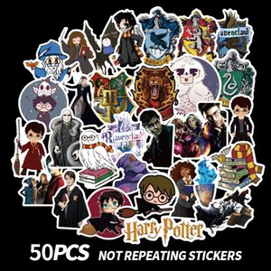 Harry Potter palillo 50pcs Harry Potter ventiladores parches adhesivos scrapbooking etiquetas engomadas DIY accesorios de las decoraciones teléfono a prueba de agua de dibujos animados regalos