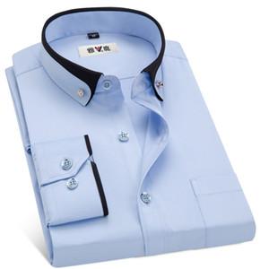 MACROSEA Men's Business Dress Shirts Male Formal Button-Down Collar Shirt Fashion Style Spring&Autumn Men's Casual Shirt 200925