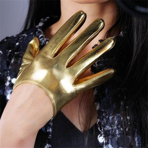 Frauen Lackleder Ultra Short Handschuhe 13cm Super Bright Spiegel Bright Gold elastische PU-Simulation Lederhandschuhe JS13