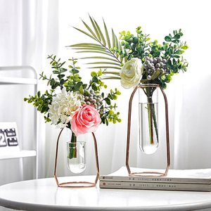 Creative Vase Home Decor Golden Art Retro Vase Metal Holder Decoration Glass + Fake Flower Ornament for Home Decoration