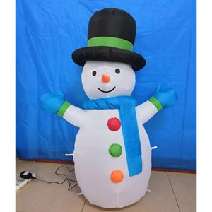 1.2M LED Snowman Inflatable Toys LED Lighted Christmas Carnival Winter Party Props Yard Outdoor Decoration