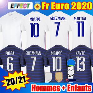 France Jerseys Camisas de futebol de França 2020 Europeu MBAPPE GRIEZMANN POGBA Jersey 2021 KANTE maillot de foot Seleção masculina + infantil Feminino kit Enfants