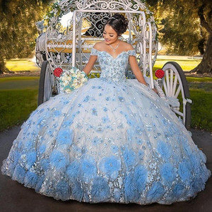 2021 Baby Blue Sweet 16 Quinceanera Dresses For Girls 3D Flowers Lace Sweetheart Lace-up Ball Gown vestidos de 15 años