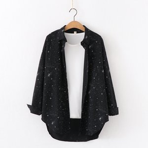 Autumn New Brand Shirt Cosmic Star Print Cotton Shirt Women's Loose Large Casual Blouse Female Student Design Clothing Tops 200924