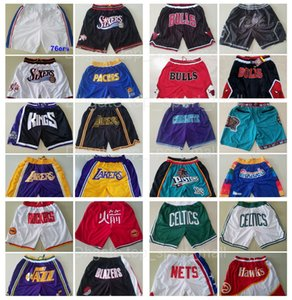 All Team Basketball Just Don Short Sport Shorts Hip Pop Pant With Pocket Zipper Sweatpants Blue White Black Red Green Men Stitched Good