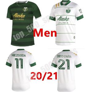 New 2020 2021 MLS Portland Timbers Home Soccer Tehersys 20 21 Blanco Chara Valentin Валери Мужчины Футбол Джерси Рубашки