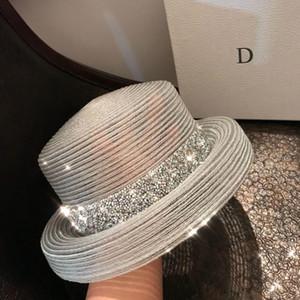 Biçimsel Geniş Brim Şapka Kadın Hepburn Stili Vintage Design Hasır Şapka Şeffaf Parlak Diamond Beach Büyük Güneş