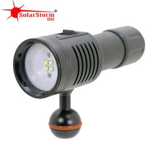 Solarstorm D02 LED Diving Flashlight Scuba Diver lantern Lamp 100M Waterproof Underwater Lights Photography Video Torch 201019
