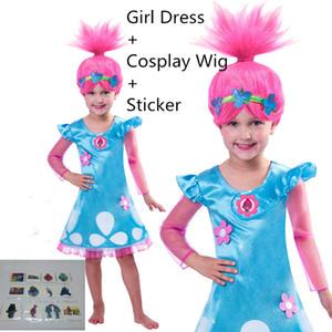 Тролли Девушки партии Cosplay платье + Halloween Cosplay Парик Birthday Party Supplies девушки Карнавальные костюмы + татуировки наклейки