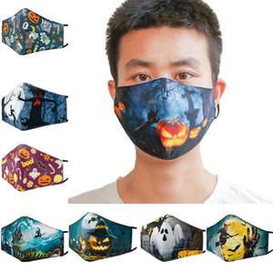Design Masken-Halloween-Party Cosplay Masken mit Filter waschbar Gesichtsmaske 3D Digital Printing Halloween Schädel Schutz Cotton Mask Maske