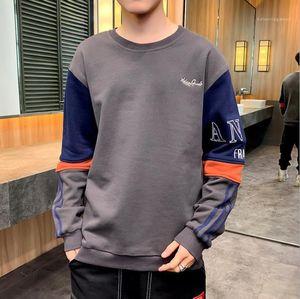 Vêtements Lettre Hommes Broderie jeunesse Sweatshirts Patchwork O-Neck Hommes Tops manches Casual Man en vrac long
