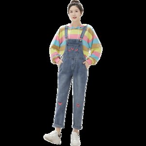 New Denim Jumpsuit for Women College Style Rompers Cute Butterfly Embroidery Denim Jumpsuit Loose Overalls Vintage Jeans