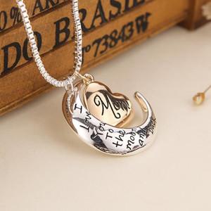Qualitäts-Herz Schmuck Ich liebe dich zum Mond und zurück Mom hängender Halskette der Mutter Tag Geschenk Großhandel Modeschmuck Zubehör