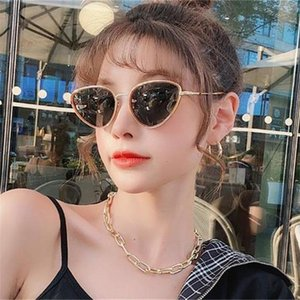2020 New Dark Green Cat Eye Sonnenbrillen für Frauen Korean Elegant Kleine Dreieck Sonnenbrillen polarisierte Mode Schatten Fahren Auto