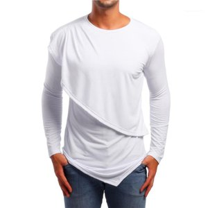 Sleeve Sports Style Irregular Tops Casual Mens Clothing Dropshipping Autumn Male Designer Tshirts Solid Color Printed Long