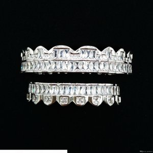 Luxury Designer White Gold CZ Cubic Zirconia Teeth Grills Hip Hop Vampire Bling Fang Grillz Iced Out Full Diamond Tooth Cap Mens & Womens