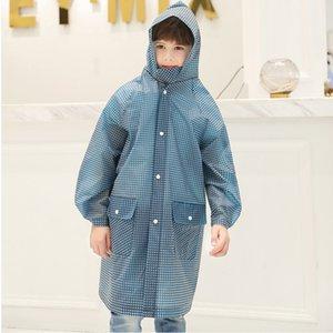 Children's Plaid Pocket Portable Outdoor Raincoat Thickened Student Boys Girls Hiking Raincoat EVA Waterproof Kids