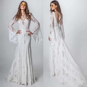2020 Bohemia Lace Beach Wedding Dress Vintage Mermaid Long Sleeve Vestido De Noiva New Crochet Country Wedding Dress Bridal Gowns