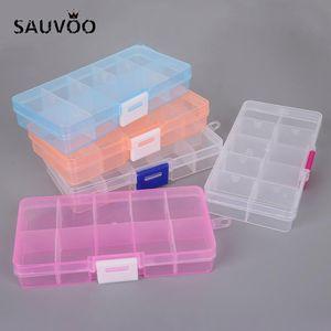 SAUVOO 10/15 griglie regolabili rettangolo di plastica Trasparente Jewelry Box di stoccaggio per le piccole strumento Component Scatole Organizer