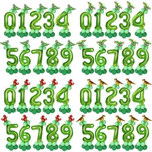 14pcs green 40inch number foil balloons with mini dinosaur shape balloon dino birthday for kids1st 2nd 3rd party baloons globos