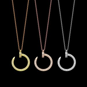 New Brand Zircon nail Pendant Necklaces Luxury 18K Gold Plated Wedding Jewelry Women's Fashion Gold Necklace Free Shipping