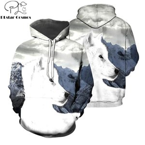 2020 Fashion Men Hoodies white Wolf animal 3D All Over Printed Sweatshirt zip Hoodie Harajuku Unisex Streetwear Casual Hoody