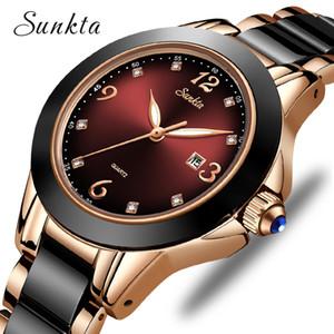 2020 Marque SUNKTA Mode Montre Femmes de luxe en céramique et bracelet en alliage analogique Wristwatch Relogio Relogio Horloge Feminino Montrésor