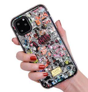 Nuovo per iphone 11 pro x xr xs max 8 7 6 più il cellulare bling bling copertina creativo di design dei cartoni animati scarabocchio Caso strass 100X DHL