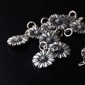 fbgpE S990 gümüş mat DIY aksesuarları Daisy çift taraflı kolye ayak gümüş kolye DIY bilezik aksesuarları buzlu
