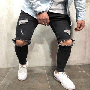2020 European and American jeans new style ripped slim-fit men's trousers denim High Quality cool brushed water jeans size S-4XL