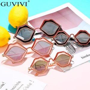 الماس Steampunk المرأة Grils مرآة الشرير الشفاه الرجال بنين المضادة للانعكاس حجر الراين النظارات الشمسية للأطفال نظارات R99O