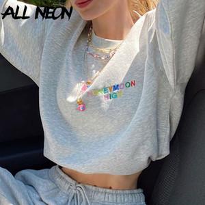 ALLNeon e-kız Sweet Boy Harf Nakış Kırpılmış Tişörtü Y2K Stil O-boyun Uzun Kollu Beyaz Streetwear Güz 90s Tops