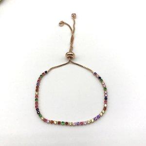 5 adet / lot En Popüler Rainbow cz Ayarlanabilir Bilezikler kadınlar için Tie Mücevher çekin