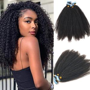 Kinky завитые ленты в наращивание волос девственницы бразильская волос # 1B Natural Black Skin Уток невидимом ленты на наращивание волос 100г / 40шт